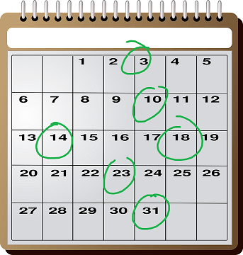 kalender met cirkels