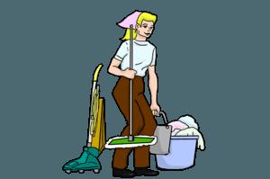 dame met schoonmaakspullen